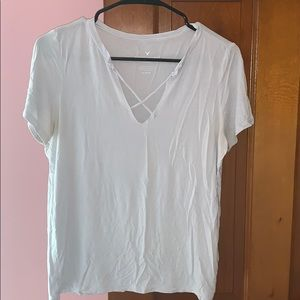 Light blue strappy tee